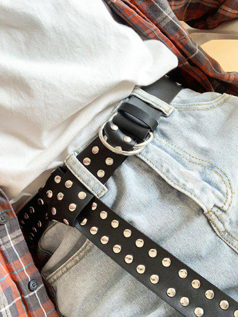 Double Ring Rivet Wide Belt - أسود  Mobile