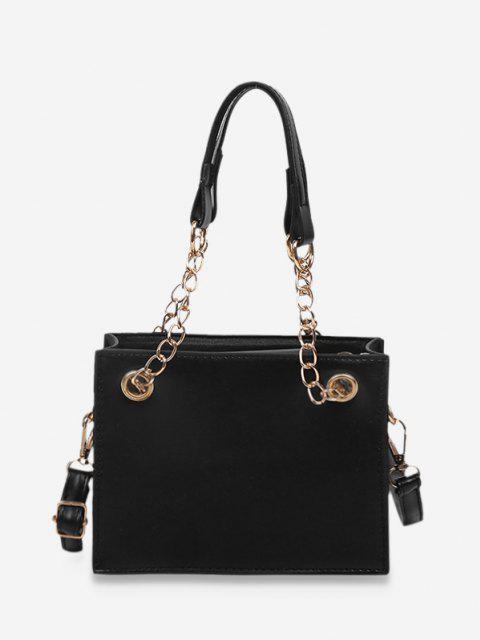 Kurze Feste Quadratische Handtasche - Schwarz  Mobile