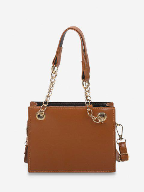 outfits Brief Solid Square Handbag - COFFEE  Mobile