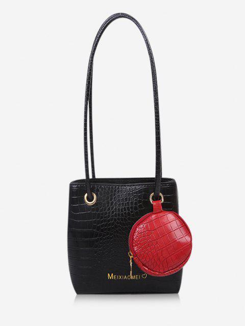 ladies Textured Pendant Square Shoulder Bag - BLACK  Mobile
