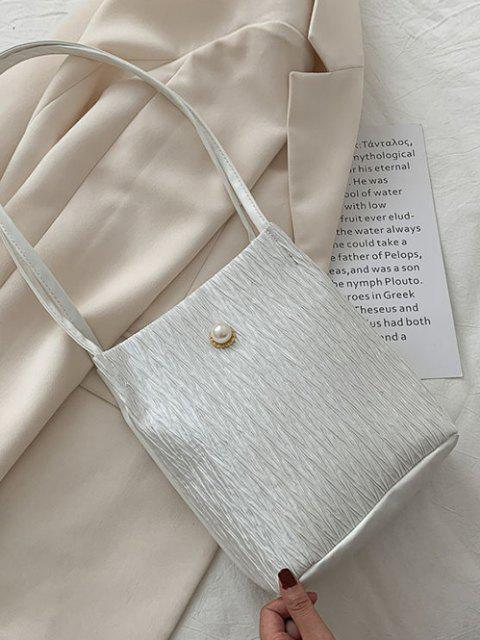 fashion Faux Pearl Textured Shoulder Bag - WHITE  Mobile