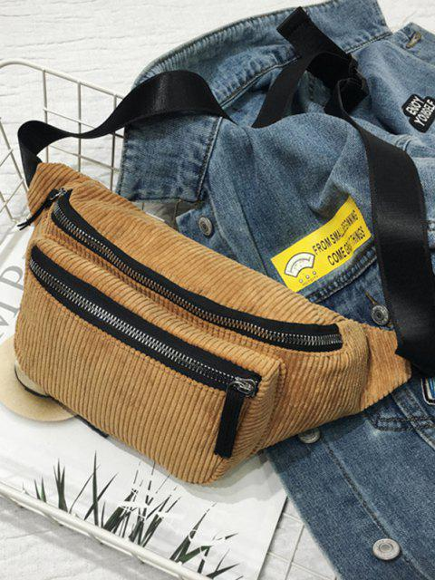 new Brief Zipper Solid Waist Bag - COFFEE  Mobile