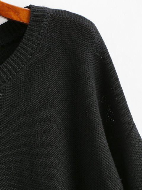 Crop Pullover mit Hängender Schulter - Schwarz M Mobile