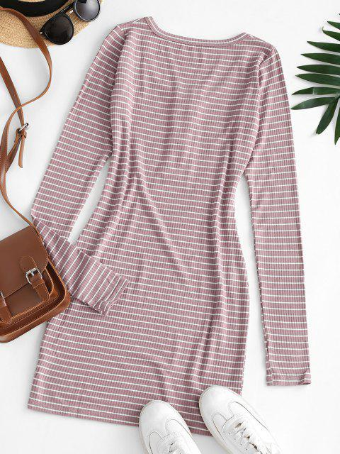 shops Striped Rib-knit Bodycon Dress - LIPSTICK PINK M Mobile