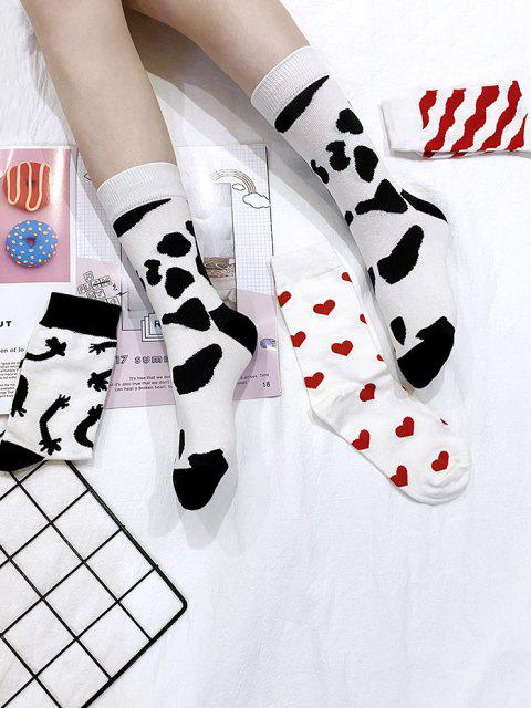 affordable 4 Pairs Cow Heart Pattern Socks Set - MULTI-A  Mobile