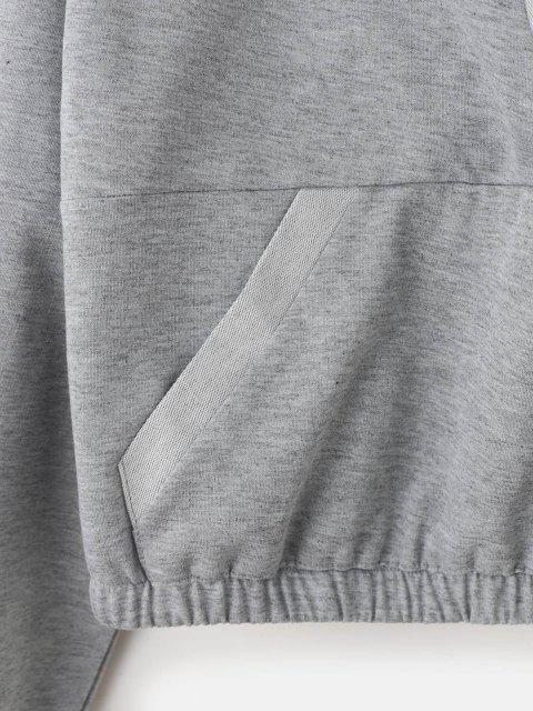 unique V Notch Kangaroo Pocket Crop Hoodie - LIGHT GRAY XL Mobile