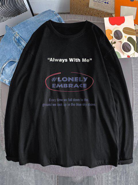 T-Shirt Stampata con Maniche Lunghe - Nero S Mobile