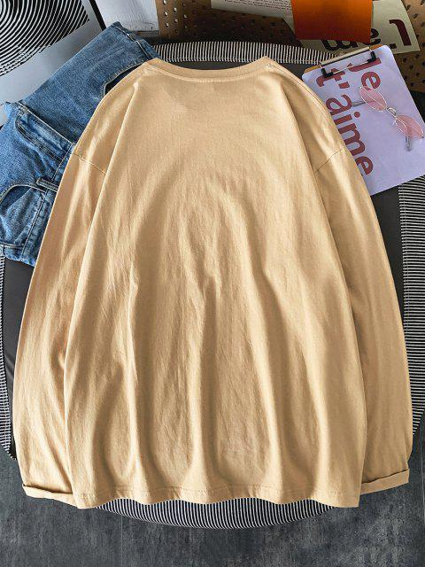 Text Print Long Sleeve T-shirt - ضوء الكاكي XL Mobile