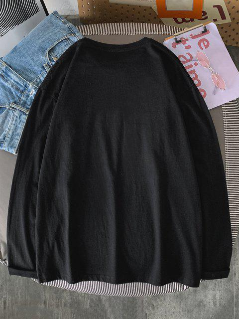 sale Text Print Long Sleeve T-shirt - BLACK L Mobile