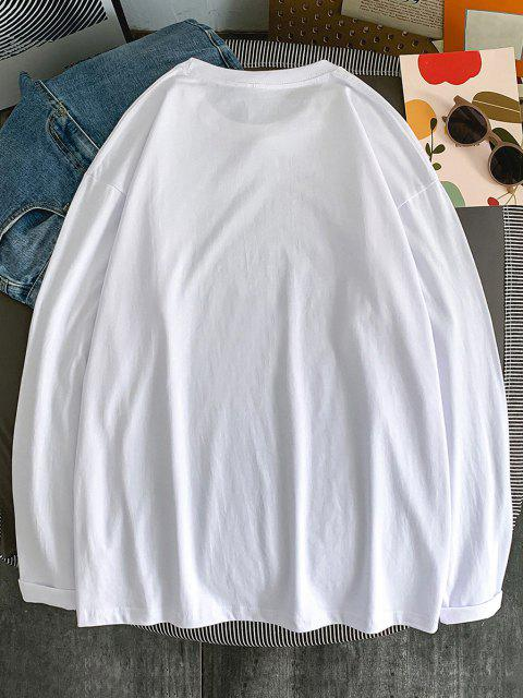 affordable Text Print Long Sleeve T-shirt - WHITE L Mobile