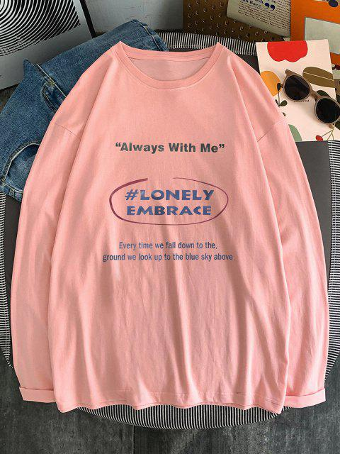 fashion Text Print Long Sleeve T-shirt - PINK L Mobile