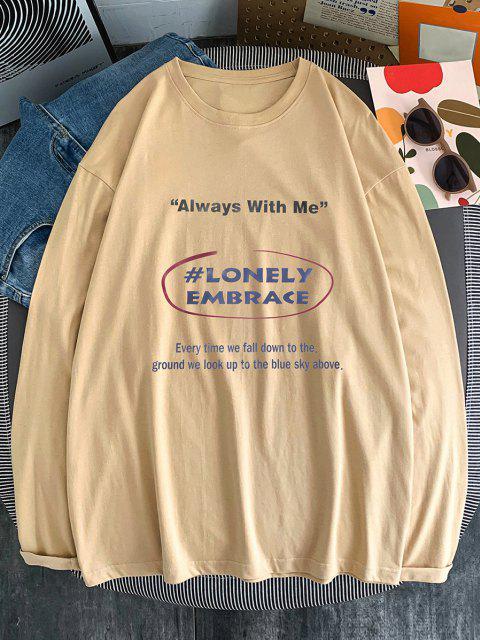 women's Text Print Long Sleeve T-shirt - LIGHT KHAKI L Mobile