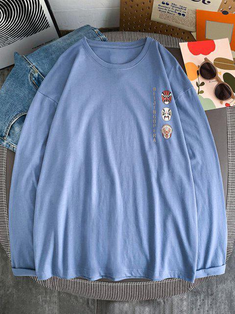 Maglietta con Stampa a Stile Cinese con Maniche Lunghe - Blu Koi 2XL Mobile
