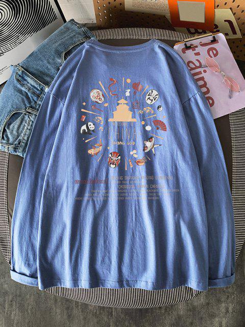 Maglietta con Stampa a Stile Cinese con Maniche Lunghe - Blu Koi L Mobile