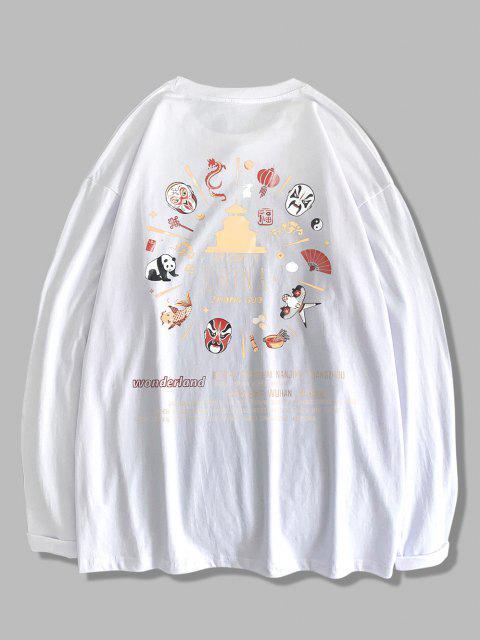 Maglietta con Stampa a Stile Cinese con Maniche Lunghe - Bianca XL Mobile