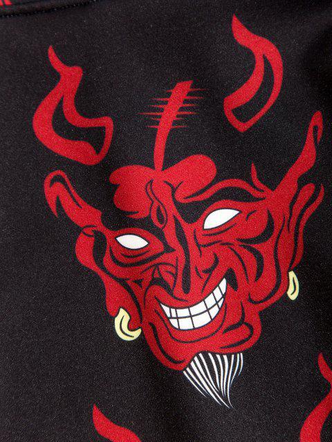 Teufel Muster Vordertasche Hoodie - Schwarz 3XL Mobile