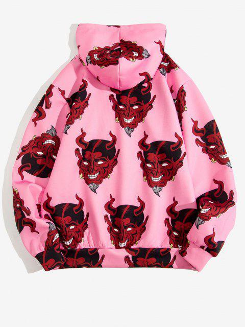 buy Devil Pattern Front Pocket Hoodie - PIG PINK L Mobile
