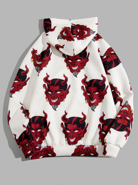 womens Devil Pattern Front Pocket Hoodie - WHITE 2XL Mobile