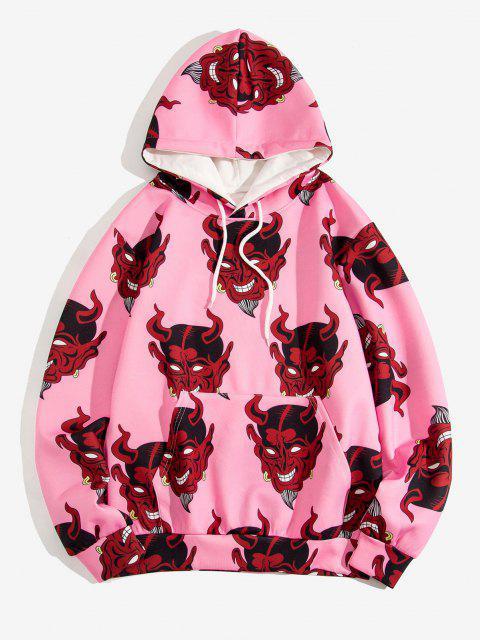 trendy Devil Pattern Front Pocket Hoodie - PIG PINK 3XL Mobile