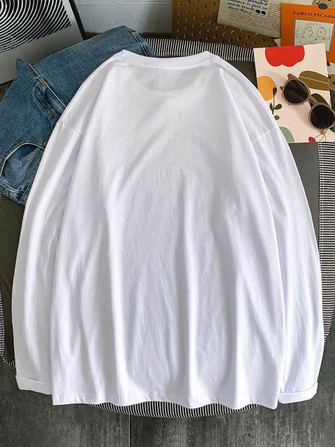 T-Shirt Grafica a Caratteri con Maniche Lunghe - Bianca S Mobile