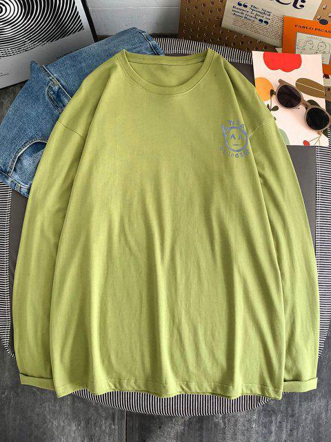 T-shirt de Manga Comprida Estampado de Peónia - Luz verde M Mobile