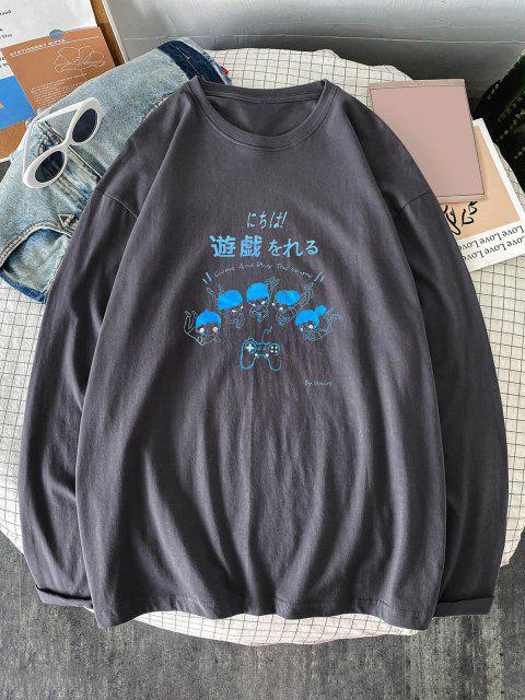 new Cartoon Characters Print Long Sleeve Graphic T-shirt - DARK GRAY S Mobile