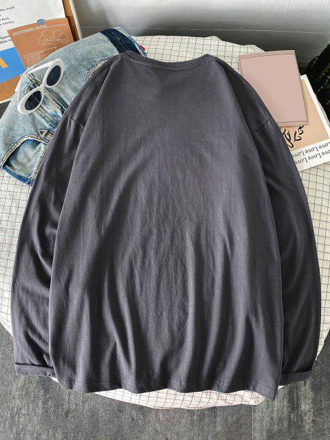 Cartoon Characters Print Long Sleeve Graphic T-shirt - الرمادي الداكن S Mobile
