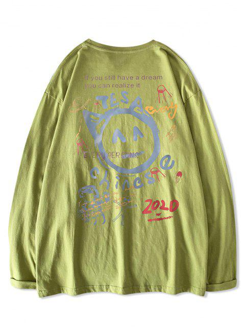 Chinese Letter Astronaut ET Graphic Print Long Sleeve T-shirt - اخضر فاتح XL Mobile