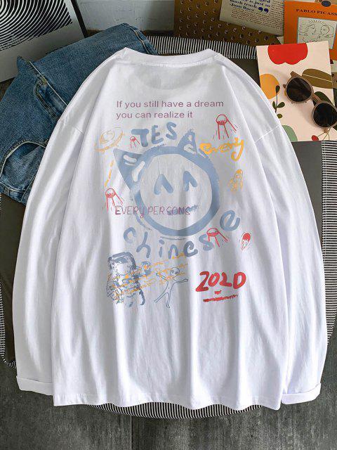 T-shirt de Manga Comprida Estampado de Peónia - Branco M Mobile