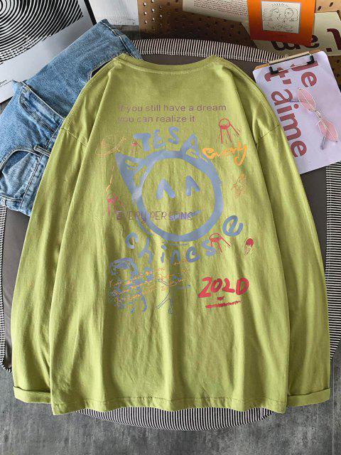 T-shirt de Manga Comprida Estampado de Peónia - Luz verde 2XL Mobile
