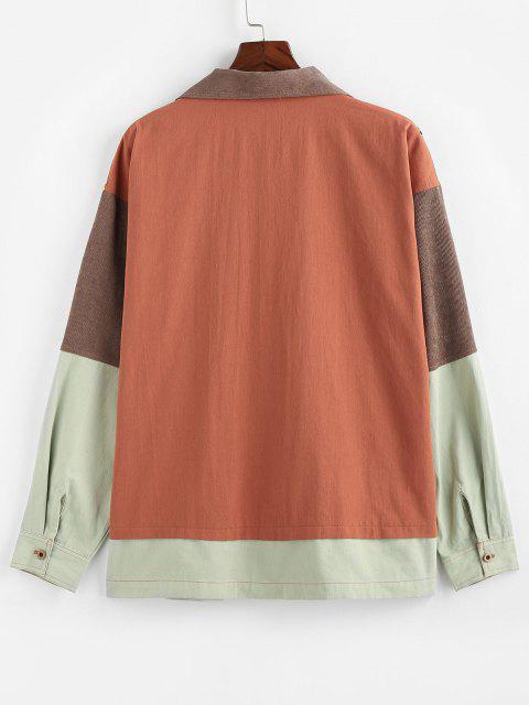 ZAFUL Camisa do Painel do Bloco de Cores Jaqueta de Bolso com Mangas Compridas - Multi S Mobile