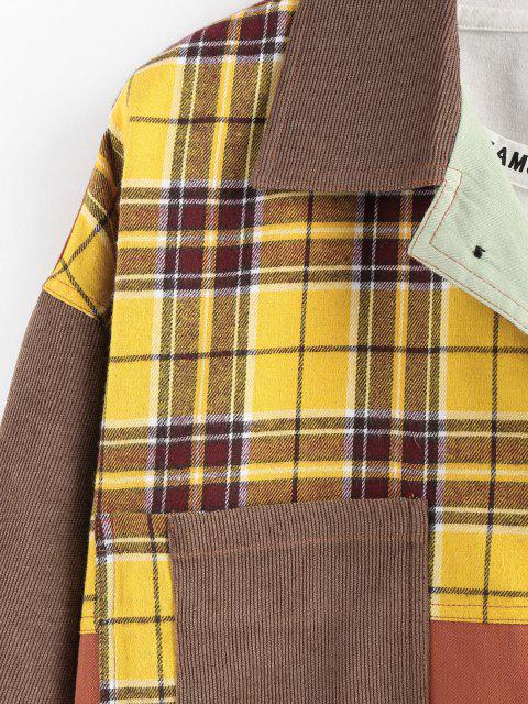 fashion ZAFUL Plaid Pocket Patchwork Colorblock Panel Shirt Jacket - MULTI M Mobile