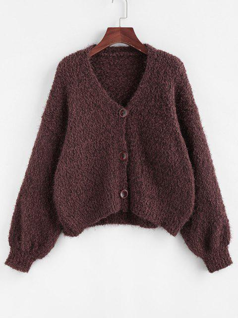 womens Drop Shoulder Boucle Knit Cardigan - DEEP COFFEE M Mobile