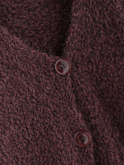 latest Drop Shoulder Boucle Knit Cardigan - DEEP COFFEE S Mobile