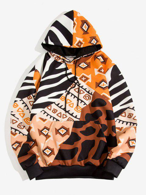 fancy Geometric Camouflage Print Front Pocket Hoodie - WOOD 3XL Mobile