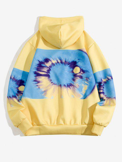women Tie Dye Printed Front Pocket Hoodie - YELLOW M Mobile