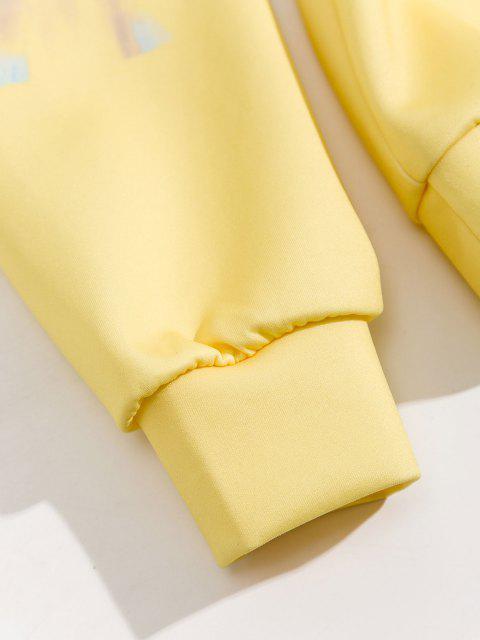 womens Tie Dye Printed Front Pocket Hoodie - YELLOW L Mobile
