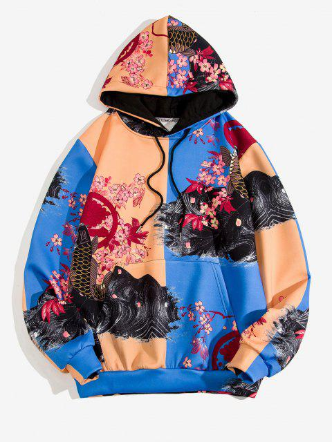 Blumen Koi Fisch Druck Farbblock Hoodie - Kobaltblau 3XL Mobile
