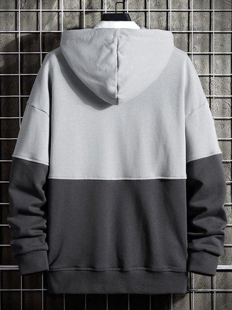 shops Letter Print Colorblock Drop Shoulder Hoodie - GRAY XS Mobile