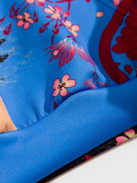 trendy Floral Koi Fish Print Colorblock Hoodie - COBALT BLUE 2XL Mobile