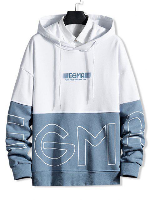 outfits Letter Print Colorblock Drop Shoulder Hoodie - DENIM BLUE L Mobile