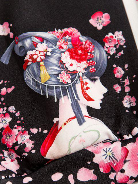 sale Japanese Style Floral Geisha Bird Print Two Tone Hoodie - BLACK 2XL Mobile