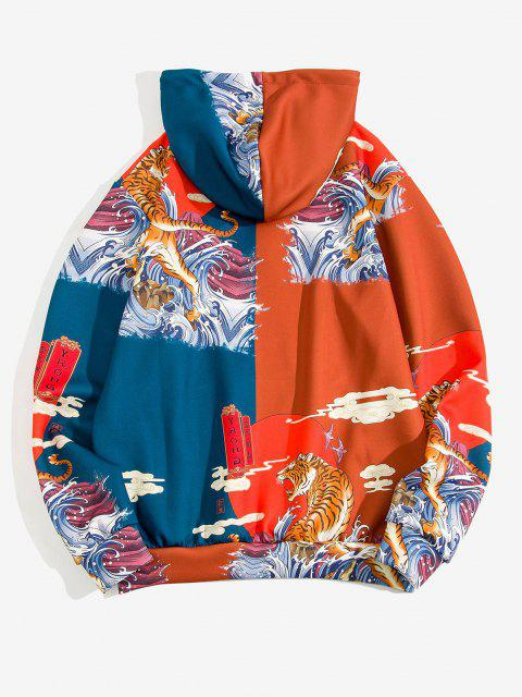 women Sea Waves Tiger Graphic Print Oriental Hoodie - RED 2XL Mobile