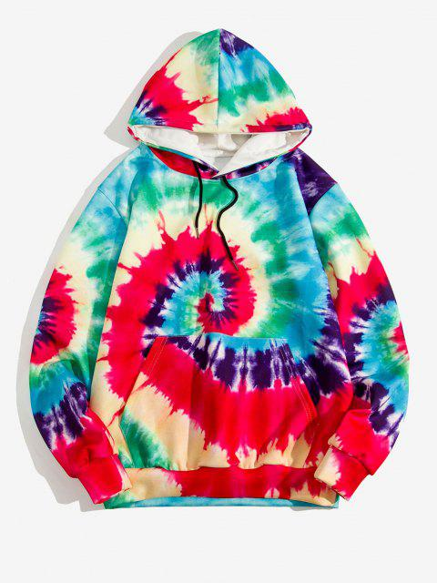 affordable Tie Dye Swirl Print Front Pocket Casual Hoodie - LAVA RED M Mobile