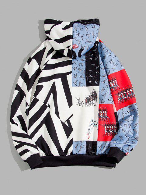 Sporting Figure Chevron Print Colorblock Hoodie - أسود M Mobile