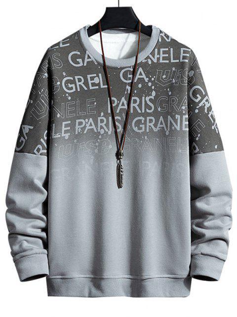 Sweat-shirt Ombré Imprimé Lettre à Épaules Tombantes - Gris 4XL Mobile