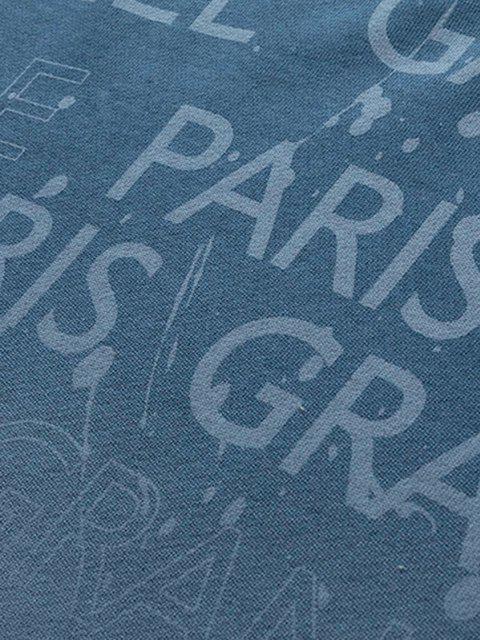 Sweat-shirt Ombré Imprimé Lettre à Épaules Tombantes - Bleu-gris M Mobile