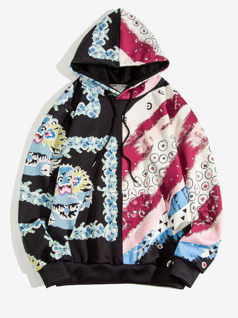 outfit Dragon Pattern Two Tone Hoodie - VALENTINE RED L Mobile