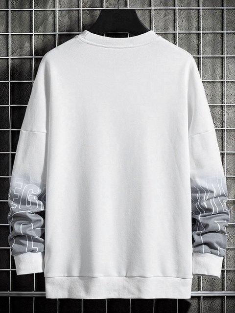 hot Letter Ombre Drop Shoulder Sweatshirt - WHITE XL Mobile