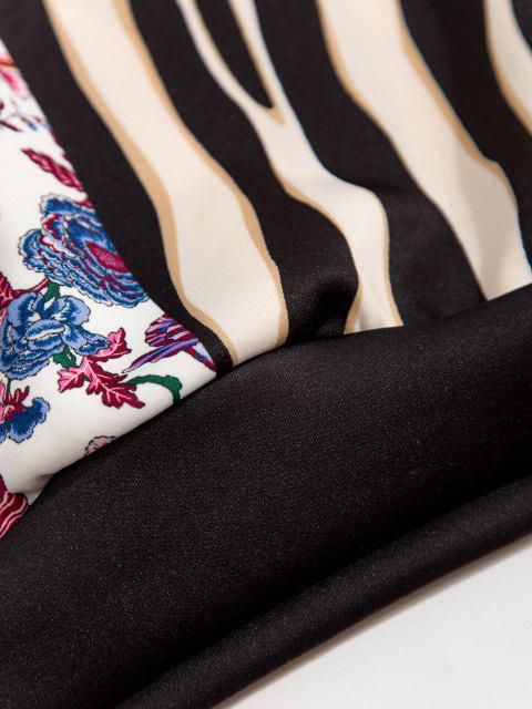 buy Bandana Striped Print Front Pocket Hoodie - BLACK L Mobile